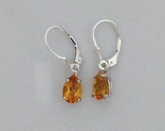 Natural Citrine Dangle Earrings 925 Sterling Silver