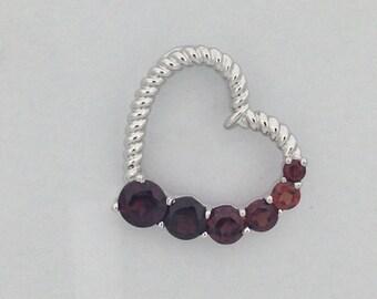 Natural Garnet Heart Pendant 925 Sterling Silver