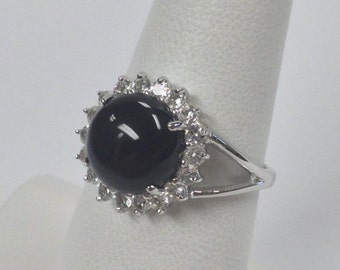 Natural Black Onyx with White Topaz Ring 925 Sterling Silver