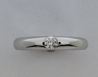 Natural Diamond Band Ring Solid 14kt White Gold