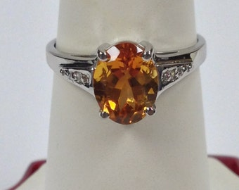 Natural Citrine Diamond Ring Sterling Silver