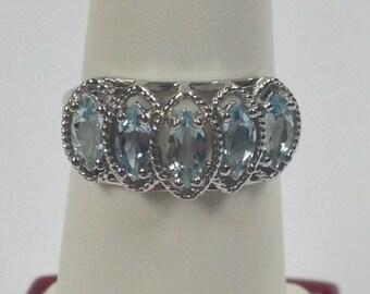 Natural Aquamarine Ring 925 Sterling Silver