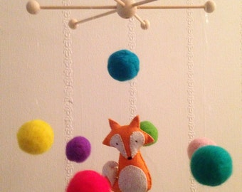 Handmade customisable needle felt animal baby mobile for nursery