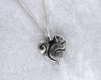 Squirrel Pendant in Sterling Silver