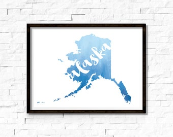 Printable Wall Art - Alaska Silhouette, Blue Watercolor - Instant Download