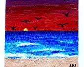 Original Sunset Beach Seascape Painting