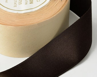"""1-3/8"""" Double Faced Silk Satin Ribbon by 10 Yards Roll, Brown"""