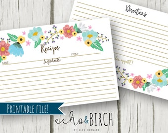 PRINTABLE 4x6 Recipe Cards - Colorful Floral Pattern   Double Sided   Instant Download   Printable Stationery & Planner Supplies