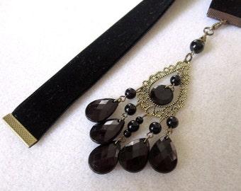 Black Velvet Ribbon Bookmark w/Chandelier Charm
