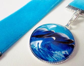 Aqua BlueVelvet Ribbon Bookmark w/Dolphin Cabochon 2