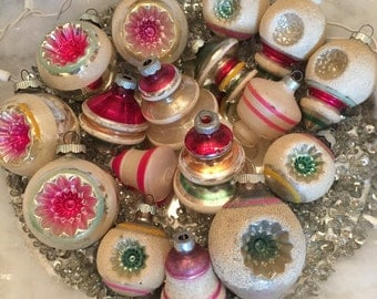 True Vintage Mercury Glass Christmas Ornaments- Shiny Brite & USA Double Indents and Shapes-White Mica with Pink Green and Yellow- Lot of 17