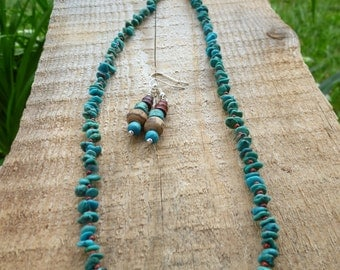 turquoise and rust necklace/earrings