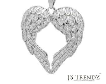 New 925 Sterling Silver CZ Angel Wings Heart Pendant