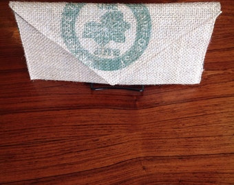 "upcycled coffee sack clutch-""preserve the amazon rainforest """