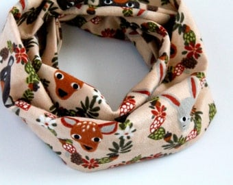 Woodland animals flannel scarf for Baby Toddler Children - Baby infinity Scarf - Girls Flannel Scarf - fall scarf deer bears rabbit forest