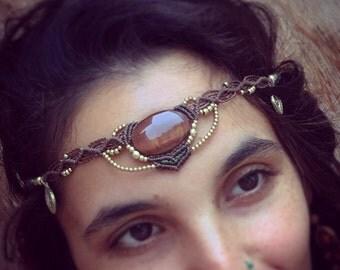 Macrame headband Powerful Red Tiger eye  Tribal Headpiece Art of Goddess boho headband tribal jewelry crown artofgoddess