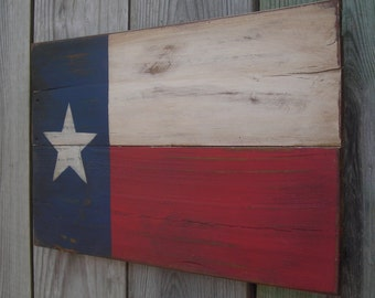 Rustic  Wooden Texas Flag, 11 X 18 inches. Made from recycled wood. A