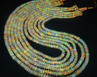 25% off shop sale AAA Rich Fire 324.25 ct Natural Multi Welo Ethiopian Opal Smooth Rondelle 3-5mm Beads 6 Strand 18 inch necklace