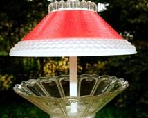 Glass bird feeder - hanging garden art - hanging glass bird feeder