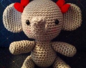 Handmade Elephant Stuffy, Crochet Newborn Photo Prop, Amigurumi Elephant, Baby Photography Stuffed Toy, Jungle Theme Animal
