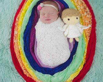 Handmade Angel Stuffy, Amigurumi Angel Prop, Stuffed Doll Photo Prop, Angel Stuffy, Infant Loss, Rainbow Baby, Miscarriage