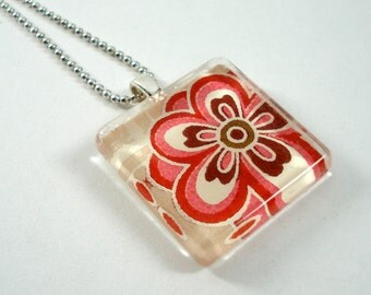 Japanese Chiyogami Paper Pendant - Pink & Brown Blossoms - Square Glass Tile Pendant w/Chain - Flower Power - Japanese Necklace