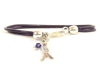 Cystic Fibrosis Awareness Bracelet - Purple Double Strand 2mm Round Leather with Lobster Clasp (2A-109)