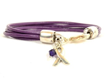 Alzheimer's Awareness Bracelet - Purple Four Strand 2mm Round Leather with Lobster Clasp (2A-108)