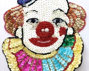"Clown Face Applique, Sequin Beaded, 7.5"" x 6"" -2923-0038-0230-1353"