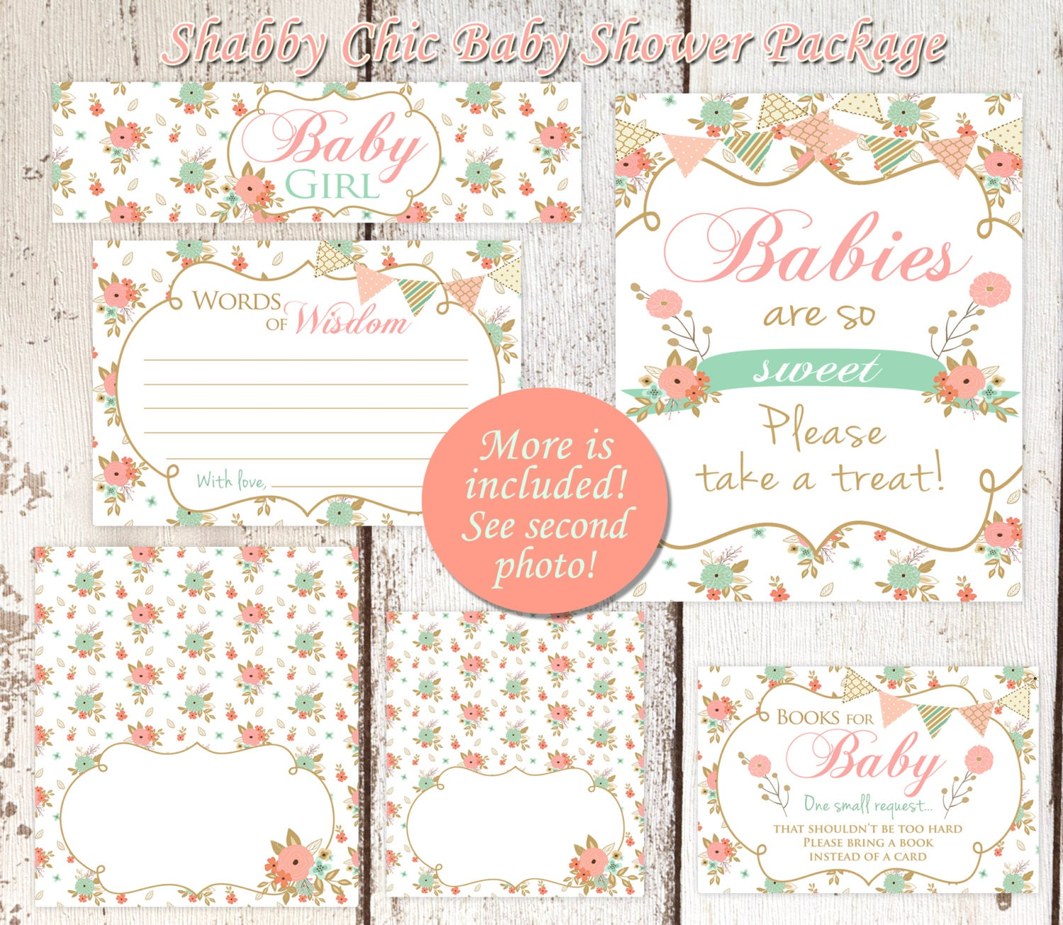 Shabby chic baby shower set peach and mint baby shower for Baby shower decoration set