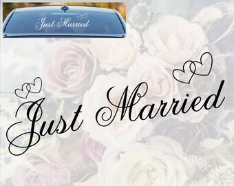 Autocollant de fenêtre de voiture juste mariée mariage jour signe coeurs décoration vinyle autocollant