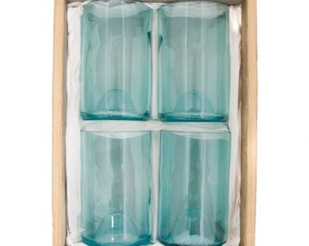 Gift Pack - 4x Aqua Blue Tumblers upcycled/recycled from wine bottles