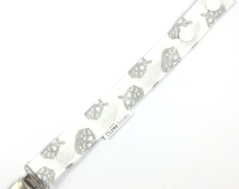 Silver metalic crown Dummy Saver Baby pacifier clip baby dummy chain cotton dummy clip