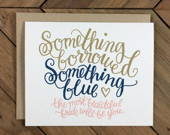 Bridal Shower Card - Something Borrowed Something Blue Beautiful Bride