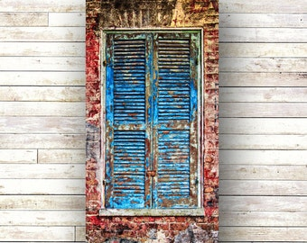 New Orleans art French Quarter Doors Architecture Door Photography BLUE ON RED Shutters Handmade Fine Art For the Home