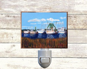 "Night Light, ""Gulf Coast Shrimpers"", Handmade, Copper Foiled"