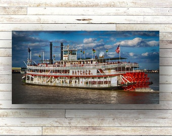 NATCHEZ New Orleans Art French Quarter Photography Mississippi River Wood Panel Steamboats NOLA Art