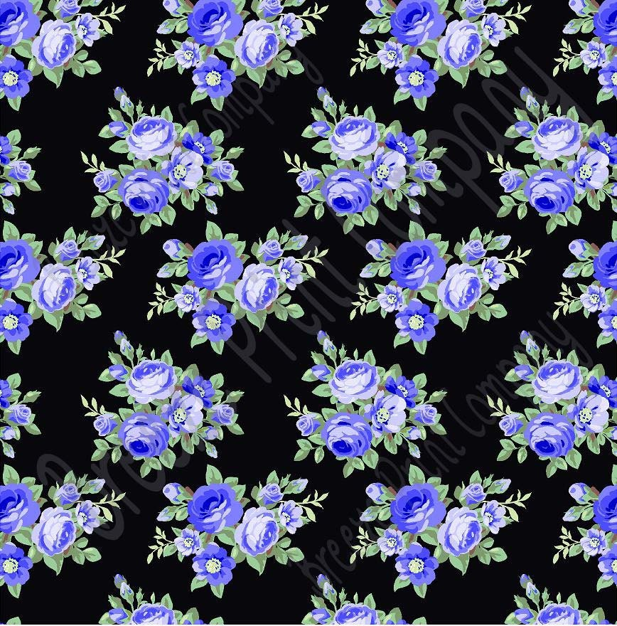 Blue rose floral heat transfer or adhesive vinyl sheet with for Rose adesive