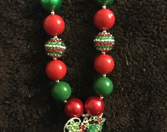 Red and Green Rhinestone Necklace