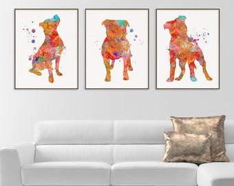 Pitbull Watercolor Art Print, Pitbull Painting, Set of 3 Prints, Pitbull Wall Art, Pitbull Wall Decor, Dog Lover Gift, Pitbull Poster