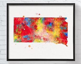 South Dakota State Art, South Dakota Map, Watercolor Map, South Dakota Poster, South Dakota Wall Decor, Travel Art, Dorm Decor,  Art, Framed