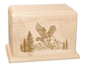 Maple Eagle Wood Cremation Urn