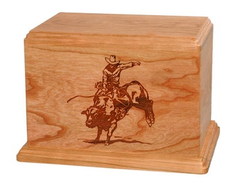 Natural Cherry Bull Rider Wood Cremation Urn