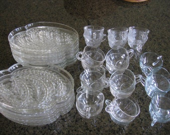 Vintage Homestead Wheat Snack Set by Federal Glass ~ 39 Pieces ~ 1950's