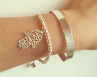 100% sterling silver hamsa bracelet , silver beaded bracelet , Jewish jewelry , judaica , bat mitzva