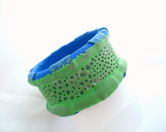 SALE Jewelry Bracelet, Polymer Clay  Green Blue Handmade