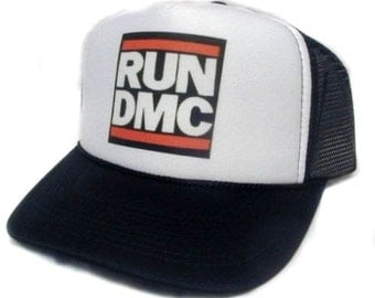 Easy and Quick Halloween low cost Costume RUN DMC  Trucker Hat Mesh Hat  Snap Back Hat Black