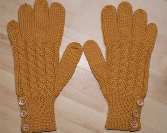 Merino Wool Gloves - Amber - Mustard - Gold - Cable Pattern and Buttoned Cuff