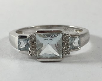 Vintage Aquamarine and Diamond Ring. 10k White Gold. Unique Engagement Ring. March Birthstone. 19th Anniversary Gift. Estate Jewelry
