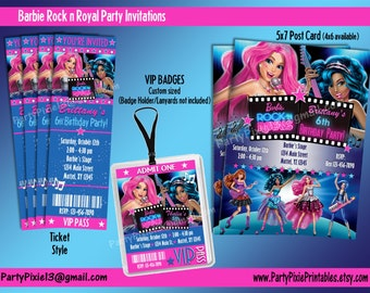 Barbie Rock and Royals Party Package and Invitation - Printable and Personalized with your party details - Digital Files